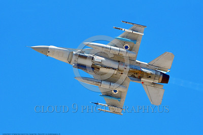 F-16-Israeli 0036 A flying Lockheed Martin F-16 Fighting Falcon Israeli Air Force jet fighter with bombs during a Nellis AFB 8-2016 Red Flag exercise military airplane picture by Peter J  Mancus