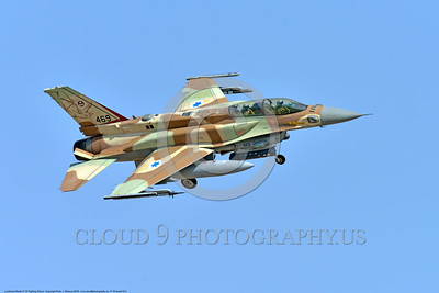 F-16-Israeli 0014 A landing Lockheed Martin F-16 Fighting Falcon Israeli Air Force jet fighter 469 during a Nellis AFB Red Flag exercise 8-2016 military airplane picture by Peter J  Mancus