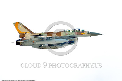 F-16-Israeli 0028 A flying Lockheed Martin F-16 Fighting Falcon Israeli Air Force 881 jet fighter during a Nellis AFB 8-2016 Red Flag exercise military airplane picture by Peter J  Mancus