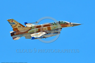 F-16-Israeli 0024 A flying Lockheed Martin F-16 Fighting Falcon Israeli Air Force jet fighter 415 during a Nellis AFB Red Flag exercise 8-2016 military airplane picture by Peter J  Mancus