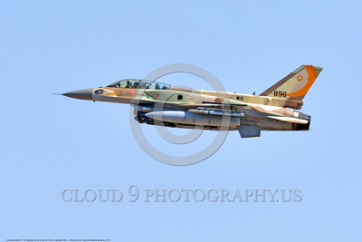 F-16-Israeli 0056 A flying Lockheed Martin F-16 Fighting Falcon Israeli Air Force 896 jet fighter during a Nellis AFB 8-2016 Red Flag exercise military airplane picture by Peter J  Mancus