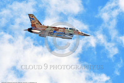 F-16-Israeli 0046 A flying Lockheed Martin F-16 Fighting Falcon Israeli Air Force 415 jet fighter during a Nellis AFB 8-2016 Red Flag exercise military airplane picture by Peter J  Mancus