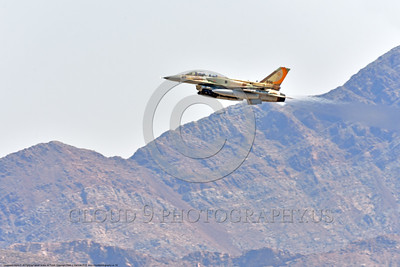 F-16-Israeli 0062 A flying Lockheed Martin F-16 Fighting Falcon Israeli Air Force 896 jet fighter during a Nellis AFB 8-2016 Red Flag exercise military airplane picture by Peter J  Mancus
