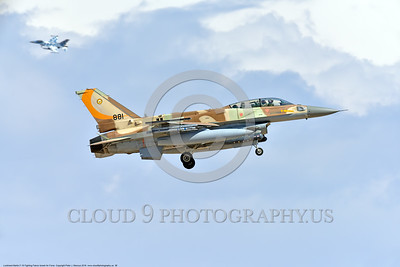 F-16-Israeli 0038 A Lockheed Martin F-16 Fighting Falcon Israeli Air Force 881 jet fighter in the landing pattern during a Nellis AFB 8-2016 Red Flag exercise military airplane picture by Peter J  Mancus