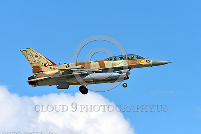 F-16-Israeli 0054 A landing Lockheed Martin F-16 Fighting Falcon Israeli Air Force 469 jet fighter during a Nellis AFB 8-2016 Red Flag exercise military airplane picture by Peter J  Mancus