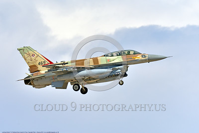 F-16-Israeli 0068 A landing Lockheed Martin F-16 Fighting Falcon Israeli Air Force 469 jet fighter during a Nellis AFB 8-2016 Red Flag exercise military airplane picture by Peter J  Mancus