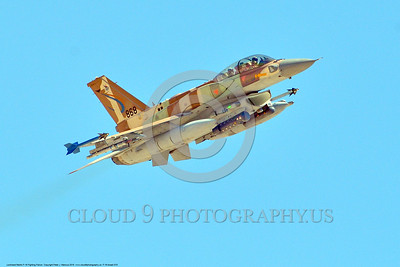 F-16-Israeli 0010 A flying Lockheed Martin F-16 Fighting Falcon Israeli Air Force jet fighter 868 at a Nellis AFB Red Flag exercise 8-2016 military airplane picture by Peter J  Mancus