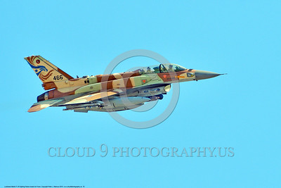 F-16-Israeli 0070 A flying Lockheed Martin F-16 Fighting Falcon Israeli Air Force 466 jet fighter during a Nellis AFB 8-2016 Red Flag exercise military airplane picture by Peter J  Mancus