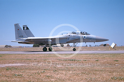 F-15Forg 00021 A taxing McDonnell Douglas F-15 Eagle jet fighter airplane picture Israeli Air Force 408 6-2001, by Clark Hansen