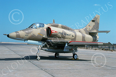 A-4Forg 00016 A static Kuwait Air Force Douglas A-4KU Skyhawk attack jet, 805 160184, Kuwait City AB 2-1994, military airplane picture, by Michel Fournier