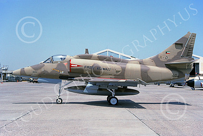 A-4Forg 00020 A static Kuwait Air Force Douglas A-4KU Skyhawk attack jet, 805 160184, Kuwait City AB 16 May 1993, military airplane picture, by Michel Fournier  pp