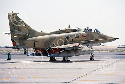 A-4Forg 00017 A static Kuwait Air Force Douglas A-4 Skyhawk attack jet, 160215, Kuwait City AB 18 May 1993, military airplane picture, by Michel Fournier