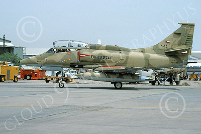 A-4Forg 00019 A static Kuwait Air Force Douglas A-4KU Skyhawk attack jet, 884 160213, Kuwait City AB 18 May 1993, military airplane picture, by Michel Fournier