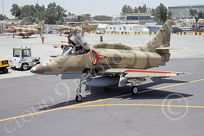 A-4Forg 00015 A taxing Kuwait Air Force Douglas A-4 Skyhawk attack jet, 820-160199, Kuwait City AB 20 May 1993, military airplane picture, by Michel Fournier  mm