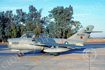 MiG-15UTI 00015 A static Mikoyan-Guryevich MiG-15UTI Fagot Pakistani Air Force 551204 2-2002 military airplane picture by Ben Harper