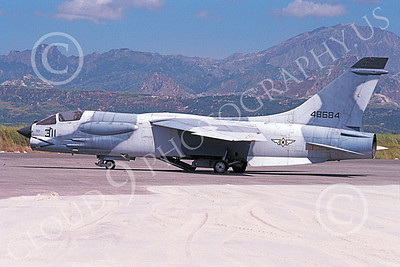 F-8Forg 00009 A static Vought F-8 Crusader Phillippines Air Force 48684 4-1990 military airplane picture by P Steinemann