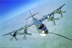 Tu -95 0010 An impressive frontal and banking aerial refueling view of a Soviet Air Force Tupolev Tu-95 Bear strategic bomber military airplane picture by A  A  Baitov   DONEwt