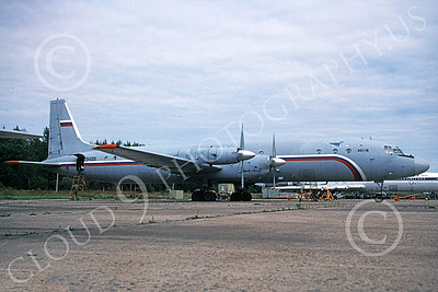 Il-18 00001 A static Ilyushin Il-18 Coot Russian Air Force transport 8-2009 military airplane picture by Bill Wilkinson