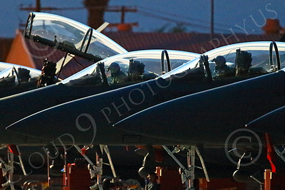 ACM 00220 Singapore Air Force F-15 Strike Eagle pilots in their cockpit for a night training Red Flag mission at Nellis AFB 7-2014 military airplane picture by Peter J Mancus