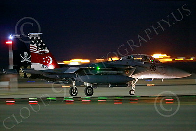 F-15Forg 00015 A colorful McDonnell Douglas F-15 Strike Eagle Singapore Air Force taxis for a night Red Flag mission at Nellis AFB 7-2014 military airplane picture by Peter J Mancus
