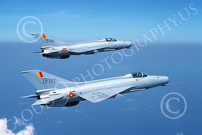 F-7 00002 Two flying Chengdu F-7 Fishbeds Sri Lankan Air Force 8-1990 military airplane picture by P Steinemann