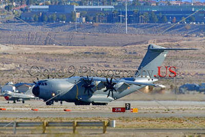 A400M-Spain 0001 An Airbus A400M Atlas turboprop military transport Spanish Air Force taxis at Nellis AFB during a 3-2020 Red Flag exercise military airplane picture by Peter J  Mancus     852_2224     Dt