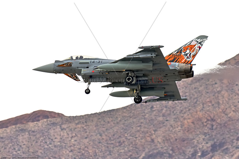 Eurofighter Typhoon-Spanish 002 A Eurofighter Typhoon Spanish Air Force jet fighter with rare sabre tooth tiger tail makings landing at Nellis AFB during a 3-2020 Red Flag exercise, military airplane picture by Peter J. Mancus     852_0333     Dt.JPG