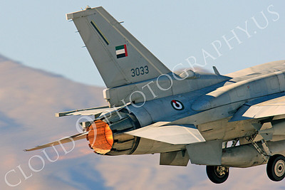 F-16E 00010 Lockheed Martin F-16E Desert Falcon United Arab Emirates Air Force UAEF 3033 in afterburner at Nellis AFB by Peter J Mancus