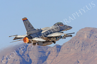 F-16E 00020 Lockheed Martin F-16E Desert Falcon United Arab Emirates Air Force UAEF 003029 in afterburner at Nellis AFB by Peter J Mancus
