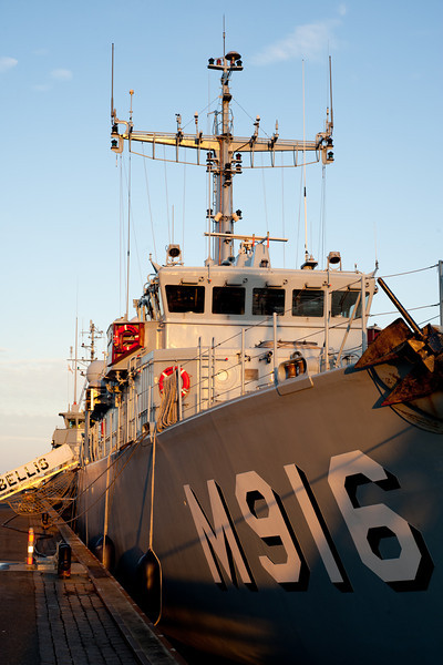 BNS Bellis (M916), from the Belgian Navy, at Frederikshavn Naval Base, Denmark, prior to the start of Ex DANEX-NOCO 2012, on 31 Aug 12.Exercise DANEX-NOCO 2012 is a combined Danish-German naval exercise with 15 participating nations and nearly 50 ships operating off the Danish coast from 3 to 12 September.  The aim of the exercise is to allow the units to experience and train within a multinational naval force.  In addition to the ships there are helicopters and aircraft from Denmark, Germany, USA, France and Sweden, as well as a large number of other Navy units. (Photograph by SSgt Ian Houlding, GBR Army)