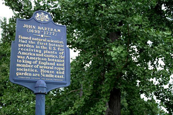 Historic marker at Bartram's Garden