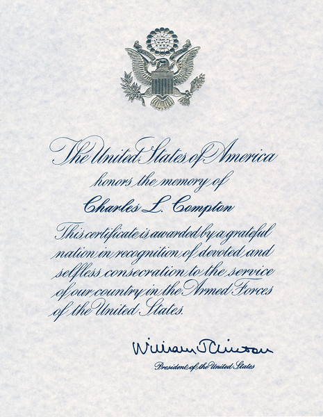 The Honorable now Ex-President William J Clinton's Farwell letter to our family after Dad's passing in 1998.