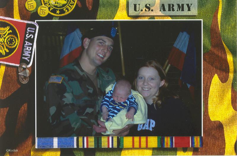 Chuck Jr, Payton John, and Erin Compton at Fort Hood Texas.