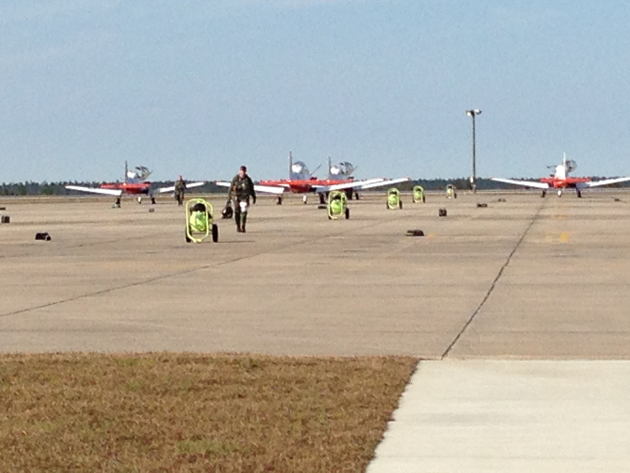 Nick walking back off the flight line to meet me at the line shack.