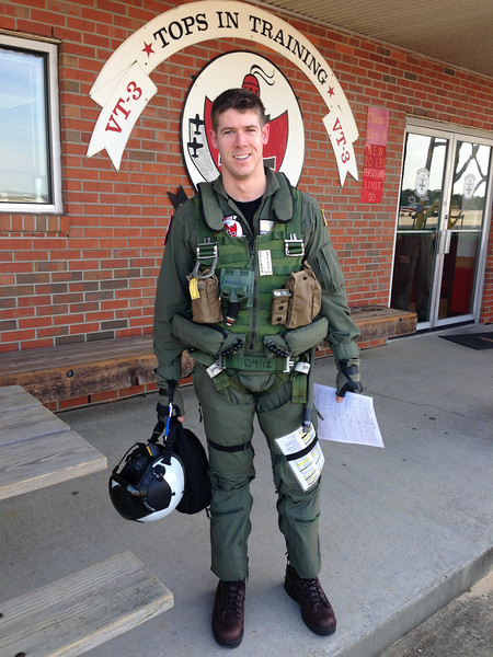 My handsome husband in all his gear after his very last Primary flight!!!!