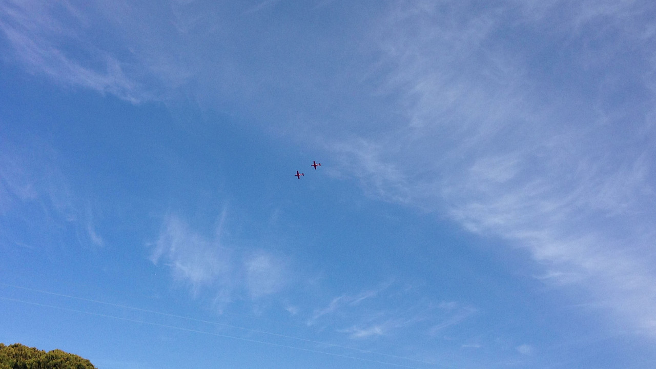 Nick flying a solo formation flight.  He is the rear plane with an instructor in the other plane.