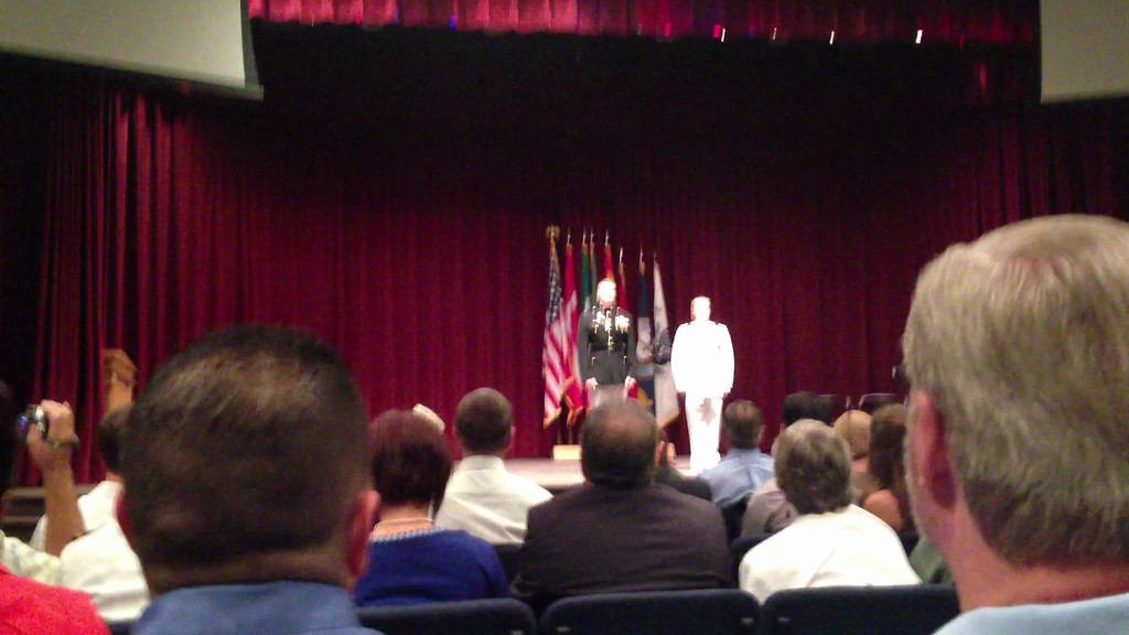 Funny short speech about how the ceremony will be conducted.  August 23, 2013     Nick's Winging Ceremony at NAS Whiting Field Auditorium