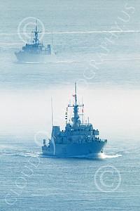 FWS 00013 Canada's Kingston-class coastal defense vessel SASKATOON 709 underway in fog in San Francisco Bay, by Peter J Mancus