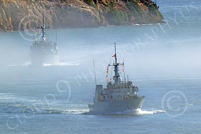 FWS 00014 Canada's Kingston-class coastal defense vessel NANAIMO 702 underway in fog in San Francisco Bay, by Peter J Mancus