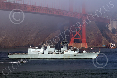 FWS 00011 Canada's Halifax-class frigate HMCS OTTAWA (FFH 341) seen sailing beneath the Golden Gate Bridge entering San Francisco Bay for Fleet Week, by Peter J Mancus
