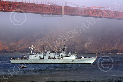 FWS 00010 Canada's Halifax-class frigate HMCS OTTAWA (FFH 341) seen under the Golden Gate Bridge's main span, approaching San Francisco Bay for Fleet Week, by Peter J Mancus