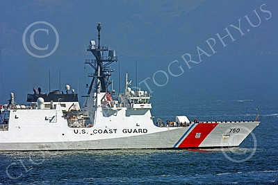 USCGM 00004 Tight crop degtail shot of the front end of the USCGS BERTHOLF (WMSL 750), the first USCG Legend-class maritime security cutter, inside San Francisco Bay, by Peter J Mancus