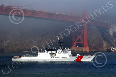 USCGM 00002 THE USCGS BERTHOLF (WMSL 750), the first USCG Legend-class maritime security cutter, sails under the Golden Gate Bridge into San Francisco Bay, by Peter J Mancus