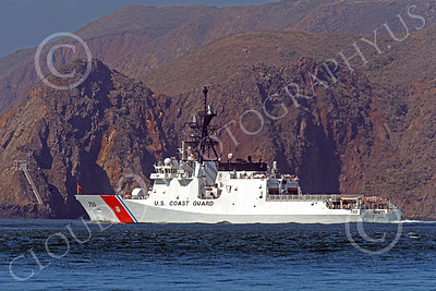 USCGM 00003 THE USCGS BERTHOLF (WMSL 750), the first USCG Legend-class maritime security cutter, outside the Golden Gate Bridge headed for a patrol in the Pacific Ocean, by Peter J Mancus