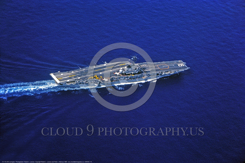 USNWS 00113 An aerial view of US Navy fossil fueled training aircraft carrier CV-16 USS Lexington of the Essex class, in service from 1943 to 1991, warship picture by Robert L  Lawson