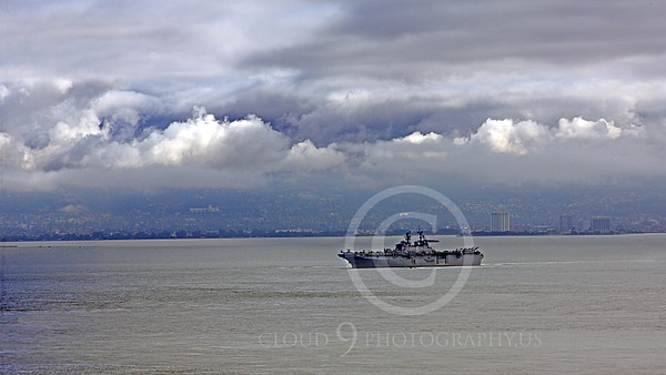 USNWS 00090 The US Navy's large USS Bonhomme Richard (LHD-6), an amphibious assault ship, looks small, alone, in the much bigger San Francisco Bay, by Peter J Mancus