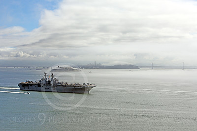 USNWS 00079 The USS Bonhomme Richard (LHD-6), a US Navy amphibious assault ship, sails pass Alcatraz Island in San Francisco Bay, by Peter J Mancus