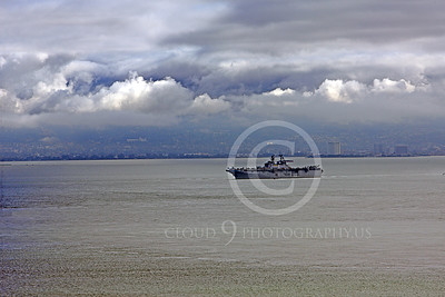 USNWS 00076 The US Navy's large USS Bonhomme Richard (LHD-6), an amphibious assault ship, looks small, alone, in the much bigger San Francisco Bay, by Peter J Mancus