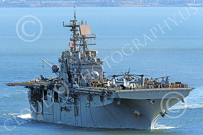 USNWS 00056 Quarter front right side view of the USS Bonhomme Richard (LHD-6), a US Navy amphibious assault ship, seen under power in San Francisco Bay, by Peter J Mancus