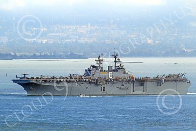 USNWS 00051 The USS Bonhomme Richard (LHD-6), a US Navy amphibious assault ship, seen under power in San Francisco Bay, by Peter J Mancus